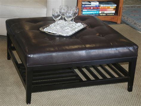Black Leather Ottoman Coffee Table Saving Small Lliving Room Spaces With Black Leather Tufted Ottoman Coffee Table With Storage