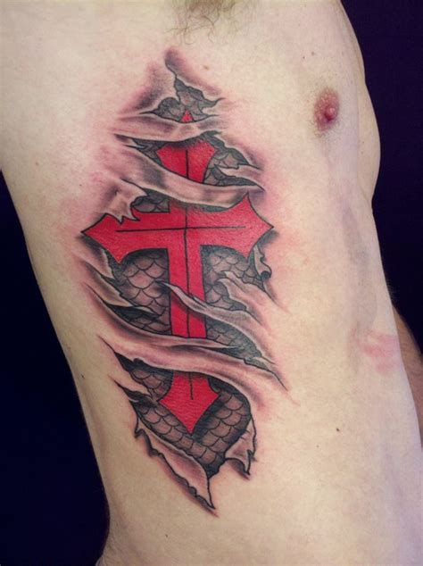 red cross tattoo ripped skin 3d cross on side rib tattooshunt