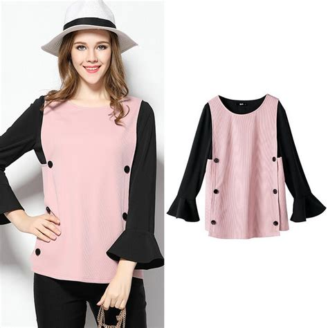 Blouse Katun Bigsize 5 ochanal pink color large size blouses 2017 fashion butterfly sleeve blouse 4xl 5xl