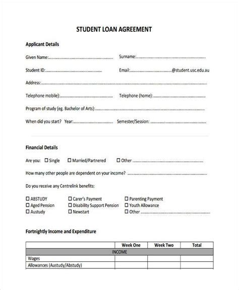 student loan agreement template 7 student loan agreement form sles free sle