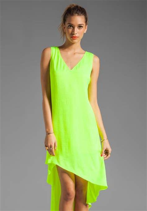 Asymmetric Hem Tank Dress bcbgmaxazria asymmetric hem tank dress in neon yellow in