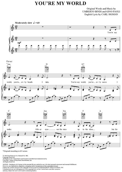 you re my song you re my world sheet for piano and more