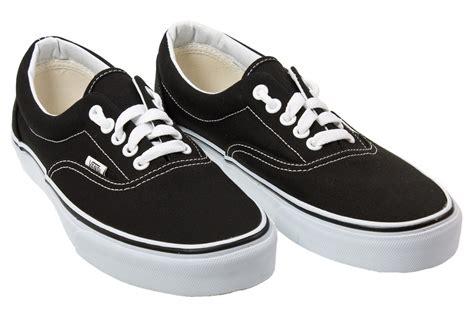 vans era black vans era mens womens black canvas low top trainers shoes