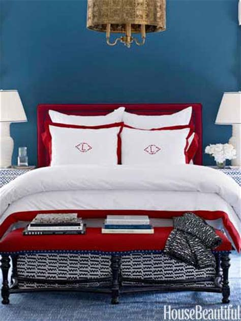 red and blue bedroom decorating with red home decor in red