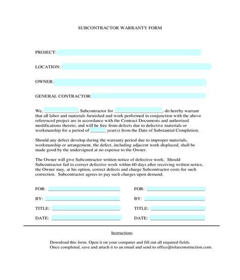 subcontractor warranty forms
