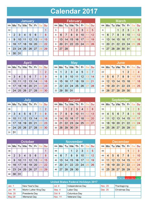 2017 calendar with holidays printable yearly calendar