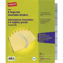 8 large tab insertable dividers template staples big tab insertable dividers 8 tab clear 4 pack