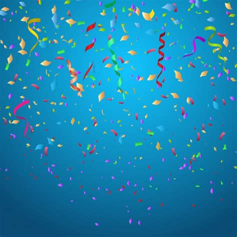 backdrop design for birthday boy colorful confetti on blue background vector free download