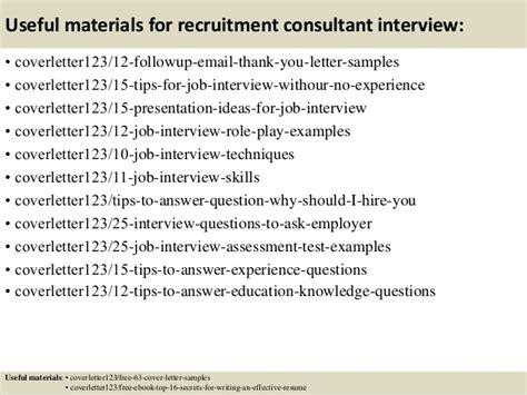 recruitment consultant cover letter no experience top 5 recruitment consultant cover letter sles