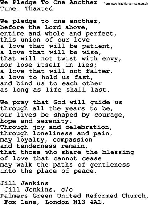 Most Popular Christian Wedding Hymns, Hymn: We Pledge To