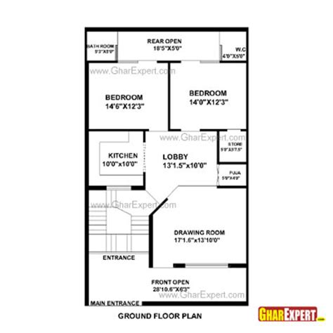 50 square yard home design house plan for 28 feet by 48 feet plot plot size 149