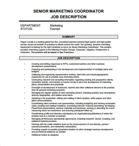 Marketing Coordinator Description Template by Marketing Coordinator Description Template 13 Free Word Pdf Format Free