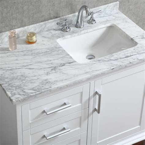 42 inch base white ace 42 inch single white bathroom vanity set with mirror