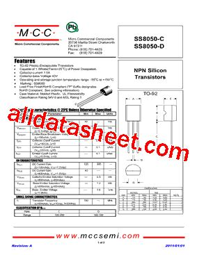 ss8050 transistor equivalent datasheet ss8050 d datasheet pdf micro commercial components