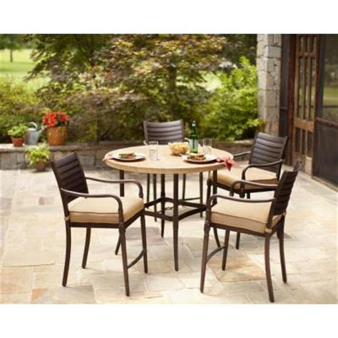 Patio High Dining Set Hton Bay 5 Patio High Dining Set With Textured Golden Wheat Cushion