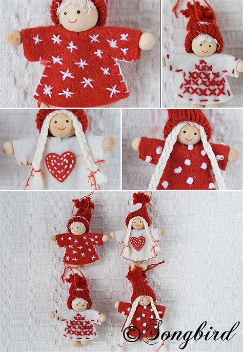red and white puppet christmas ornaments from the dollar stor