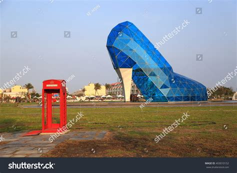 taiwan church shaped like a shoe taiwan april 5 2016 giant blue stock photo 403010152