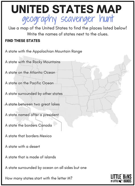 how to memorize the map of the united states geography scavenger hunt united states activity