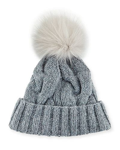 cable knit pom pom hat loro piana cable knit fur pom pom hat