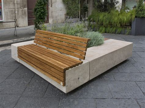 panchina in pietra panchina in pietra ricostruita con fioriera integrata con