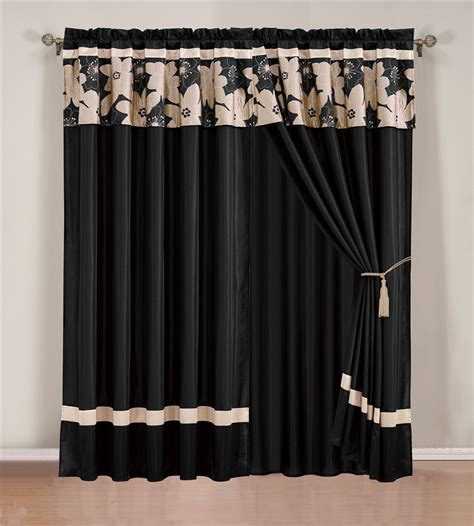 black and beige jacquard curtain set ebay