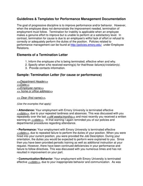 employment termination letter template sample of termination letter