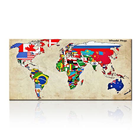 world cities map canvas large size wall world map painting on canvas prints
