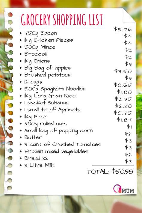shopping list 50 week grocery shop