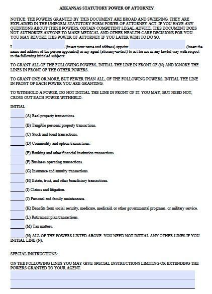 Free Durable Power Of Attorney Arkansas Form Fillable Pdf Arkansas Will Template