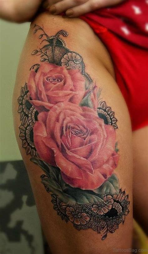 pink roses tattoo 74 superb tattoos on thigh