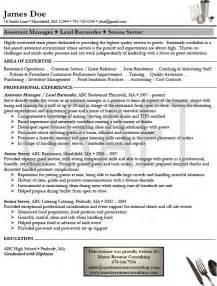 resume format resume exles bartender server