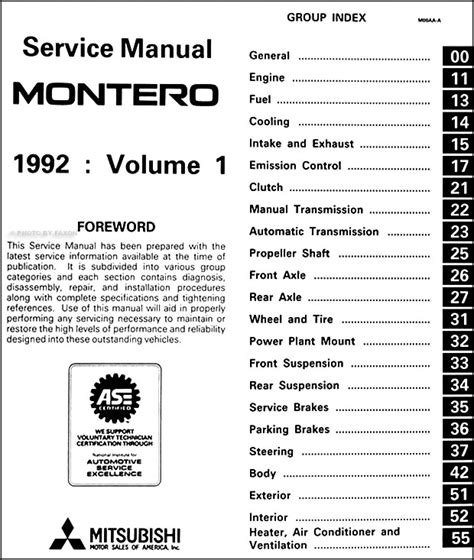 service manual montero best repair manual download 1992 1993 mitsubishi montero repair shop 1992 mitsubishi montero repair shop manual set original