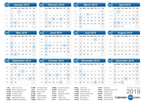 printable calendar for 2019 printable calendar 2019 with holidays journalingsage com