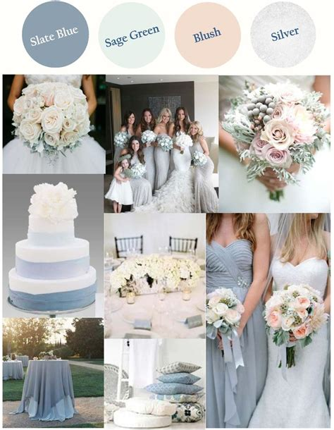 light blue wedding colors slate blue or dusty blue with light sage green blush and