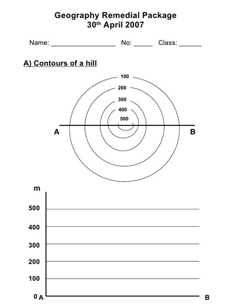 drawing a cross section geography draw contours worksheet