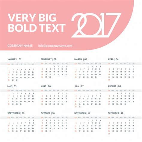 Calendar 2o17 Calendar For The Year 2017 With A Tab Vector Free