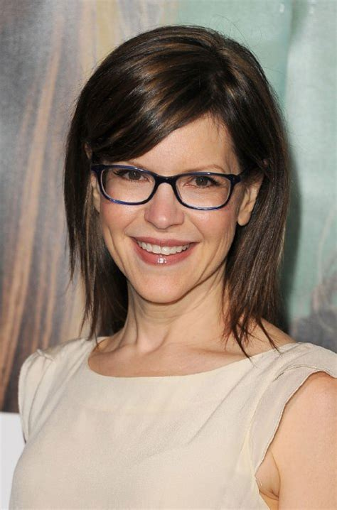 side swept bangs oblong face hairstyle ideas for a small forehead and glasses women