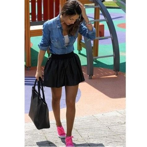 skater skirt jean shirt neon tennis shoes fashion