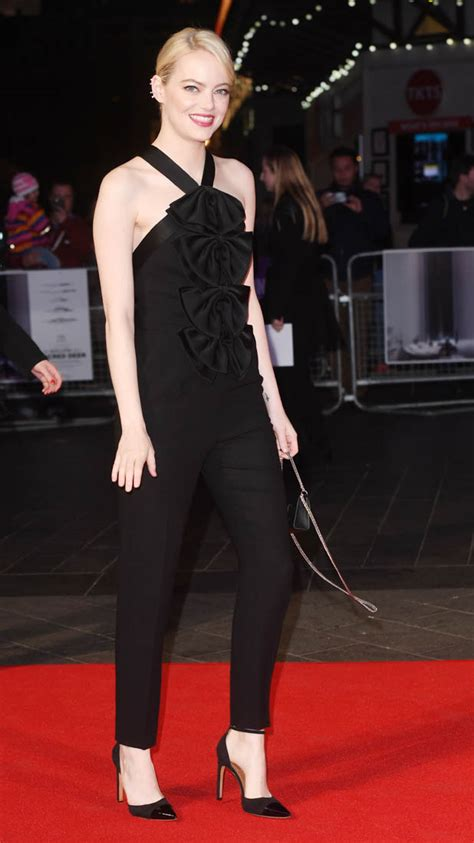 emma stone jumpsuit emma stone s amazing black givenchy jumpsuit at uk