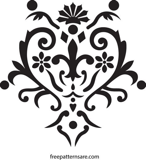stencil template damask wall stencil and stickers vector pattern