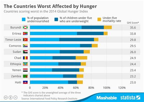 the 10 countries most affected by hunger