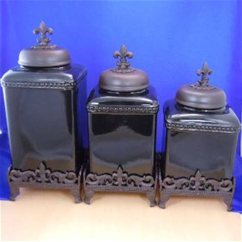 ceramic black rustic fdl cross canister set