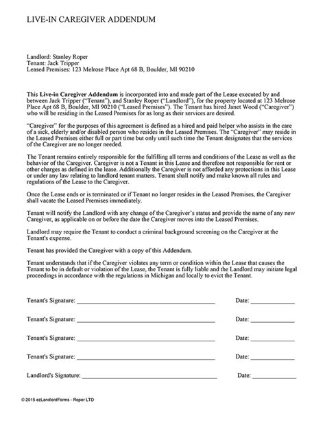 caregiver agreement template live in caregiver addendum ez landlord forms