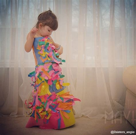 Clothes Out Of Paper - this 4 year makes paper dresses with and