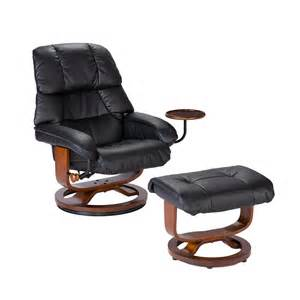 bonded leather recliner and ottoman black