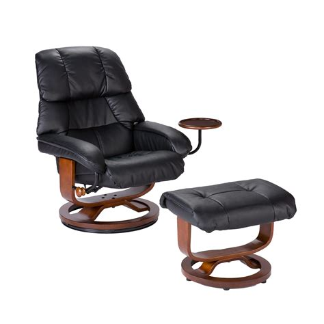 leather recliner and ottoman view larger