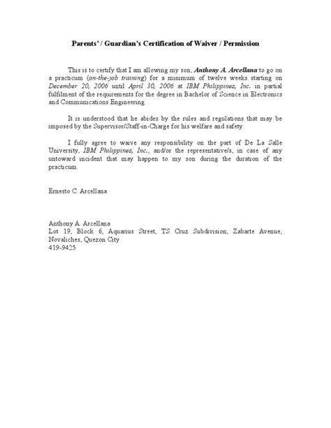 Parent Consent Letter For Work In Philippines Parent S Waiver Ojt