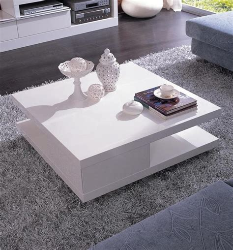 modern white square coffee table with shelf mito