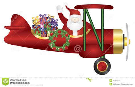santa claus on biplane delivering presents illustr stock