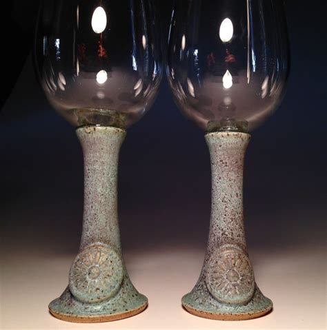 Handcrafted Wine Glasses - wine glasses pottery handmade goblet set two by potterybydaina
